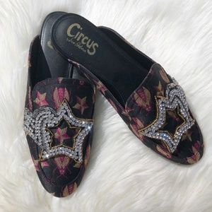 HP x3 Circus Embroidered Crystal Mule Flat